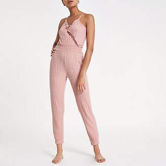 River Island Pink rib loungwear jumpsuit