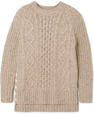 Alex Mill Button-embellished Cable-knit Merino Wool-blend Sweater - Beige