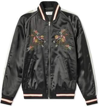 Saint Laurent floral embroidered teddy jacket
