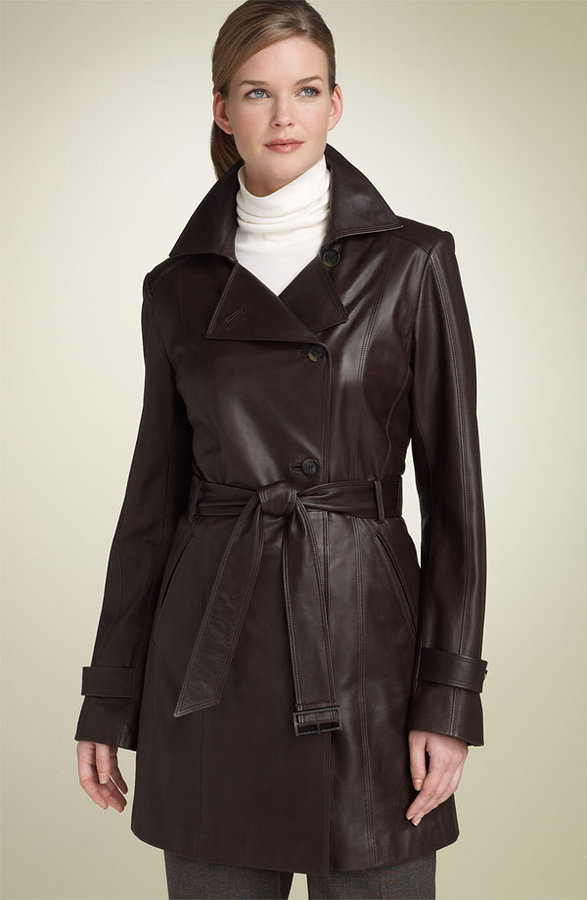 Cole Haan Belted Lambskin Leather Trench Coat