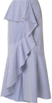 Goen J - Ruffled Striped Cotton-poplin Midi Skirt - Blue
