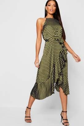 boohoo Satin Polka Dot Frill Detail Midi Dress