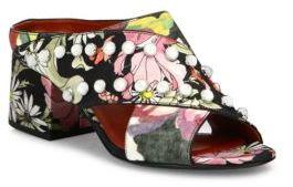 3.1 Phillip Lim3.1 Phillip Lim Cube Studded Floral-Print Crisscross Block-Heel Mules