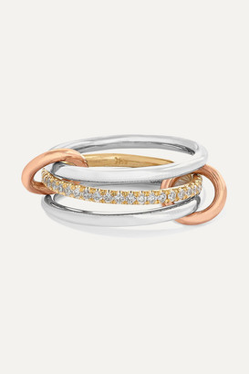 Spinelli Kilcollin Sonny Set Of Three 18-karat White, Yellow And Rose Gold Diamond Rings - White gold