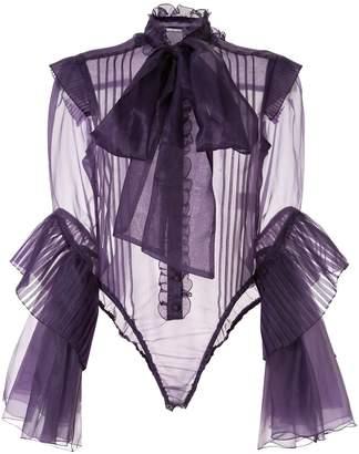 Facetasm sheer ruffle detail blouse
