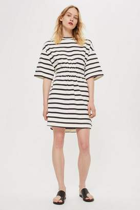 Topshop **Striped Drawcord T-Shirt Dress by Boutique