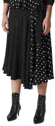 Whistles Asymmetric Dot-Print Skirt