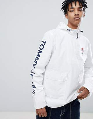 Tommy Jeans sleeve logo overhead hooded jacket in white