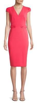 Calvin Klein Tabbed Cap-Sleeve Sheath Dress