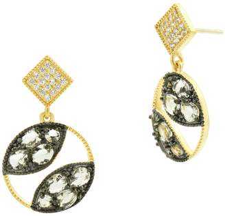 Freida Rothman Rose d'Or 14K Yellow Gold & Black Rhodium Plated Pave CZ Open Circle Drop Earrings