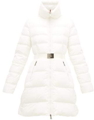 Moncler Accenteur Belted Down Quilted Coat - Womens - White