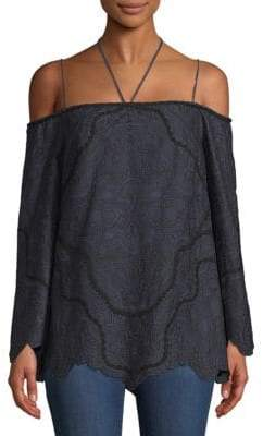 Jonathan Simkhai Embroidered Off-the-Shoulder Blouse