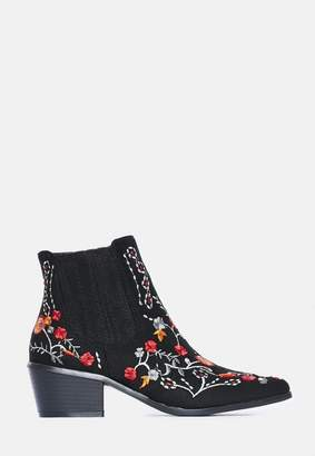 Missguided Floral Embroidered Western Boots