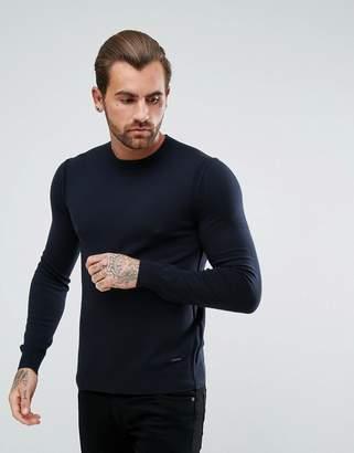 BOSS Albonon Merino Knitted Sweater in Navy