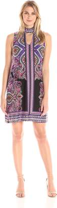 Tiana B T I A N A B. Women's Paisley Printed Jersey Dress with Front Keyhole
