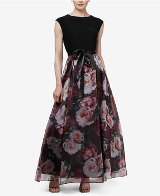 Sl Fashions Solid & Floral Sash-Belt Gown