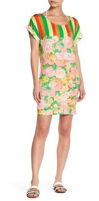 Versace Mixed Print Colorblock Cover Up