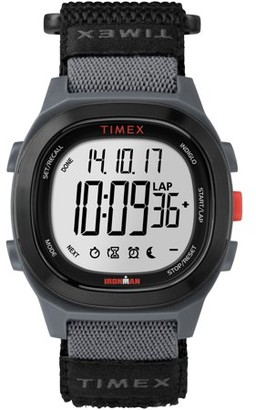 Timex Men's Ironman Transit Full-Size Black/Red Watch, Fast Wrap Strap