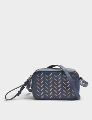 HUGO BOSS Taylor Lasered Crossbody Bag in Medium Blue Lasered Saffiano Printed Calfskin