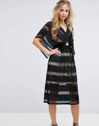 Foxiedox Sheer Lace Kimono Sleeve Dress