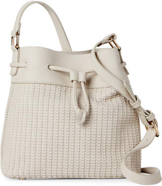 Street Level Ivory Woven Bucket Bag