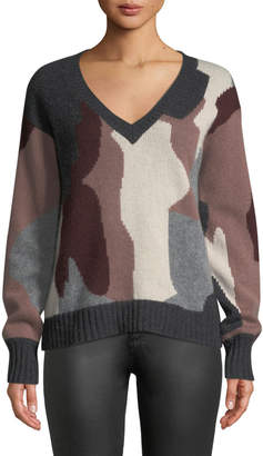 360 Sweater 360sweater Cayenne V-Neck Camo Skull Cashmere Sweater