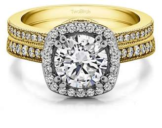 TwoBirch Bridal Set(engagment ring & matching band)in 14k Gold With Cubic Zirconia(1.99tw)