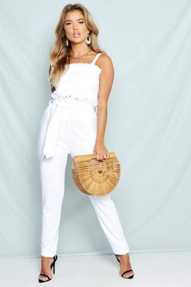 boohoo Belted High Waist Tapered Trousers