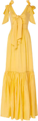Costarellos Linen Tie Front Cut-Out Dress With Bow-Tie Straps Size: 34