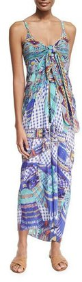 Camilla Printed Tie-Front Silk Coverup, Divinity Dance $450 thestylecure.com