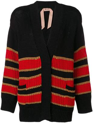 No.21 striped chunky knit cardigan