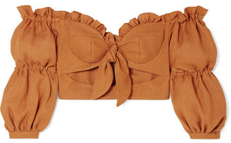 PatBO Cropped Ruffled Off-the-shoulder Woven Top - Camel