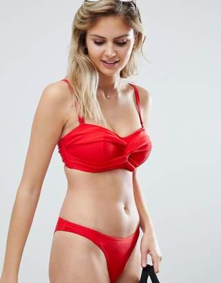 Figleaves high leg brazilian bikini bottom in red