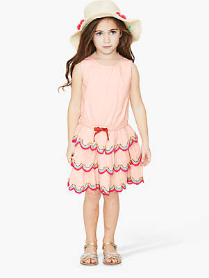 Boden Mini Girls' Tiered Ruffle Dress, Parisian Pink