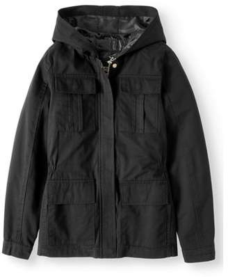 Beverly Hills Polo Club Cinched Waist Cotton Hooded Anorak Jacket (Big Girls)