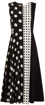 Sportmax Spot Panel Mid Length A Line Dress - Womens - Black White