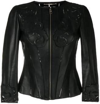 Versace baroque stencil cut leather jacket