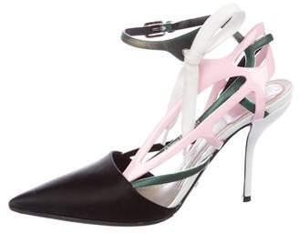 Christian Dior Satin Ankle Strap Pumps