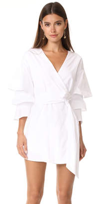 endless rose Poplin Wrap Dress With Tiered Bell Sleeves $105 thestylecure.com