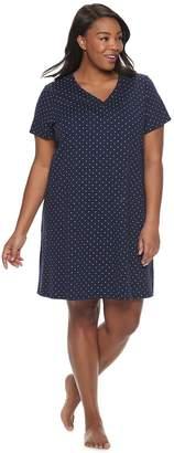 Croft & Barrow Plus Size Henley Knit Sleepshirt