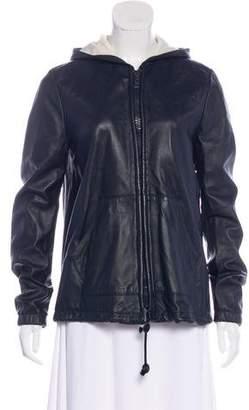 Band Of Outsiders Leather Hooded Jacket