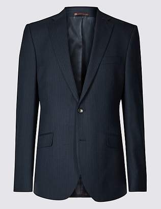 M&S Collection Big & Tall Navy Striped Regular Fit Jacket