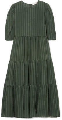 See by Chloe Tiered Striped Cotton-blend Jacquard Midi Dress - Green