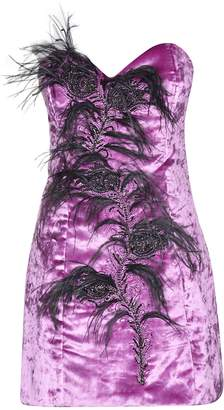 ATTICO Feathered Detail Short Dress