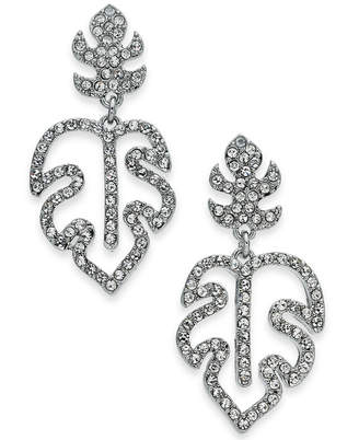 INC International Concepts I.N.C. Silver-Tone Pavé Palm Leaf Drop Earrings, Created for Macy's