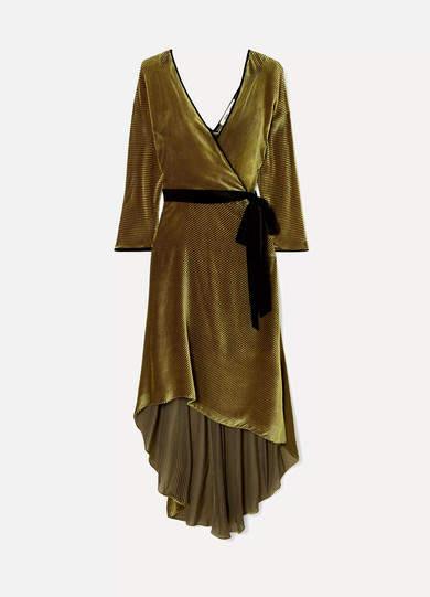 Eloise Wrap-effect Devoré-velvet Dress - Gold
