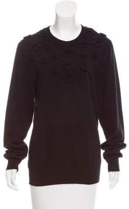 Dolce & Gabbana Floral Appliqué-Accented Cashmere Sweater w/ Tags