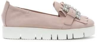 Kennel + Schmenger Kennel & Schmenger Broderie Pink Suede Embellished Flatform Loafers