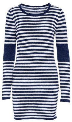 Minnie Rose - Linen Striped Long Sleeve Dress with Elbow Patch $172 thestylecure.com