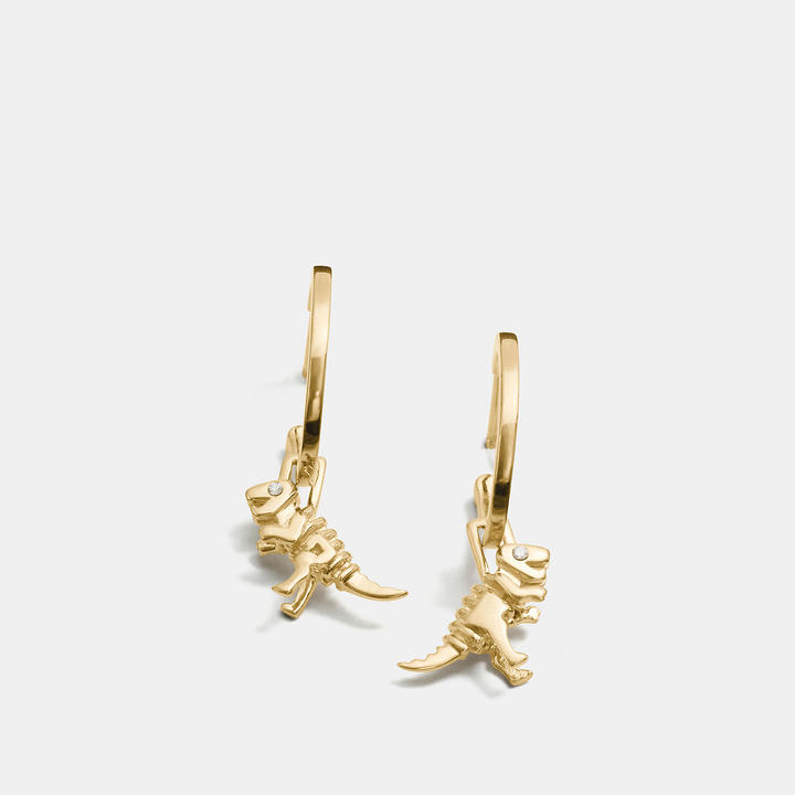 Coach   COACH Coach Mini Rexy Charm Hoop Earrings